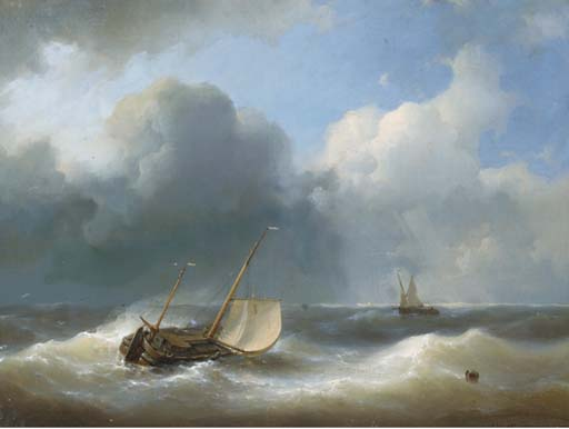 A Lugger In Heavy Seas, Oil by Abraham Hulk Senior (1813-1897, Netherlands)