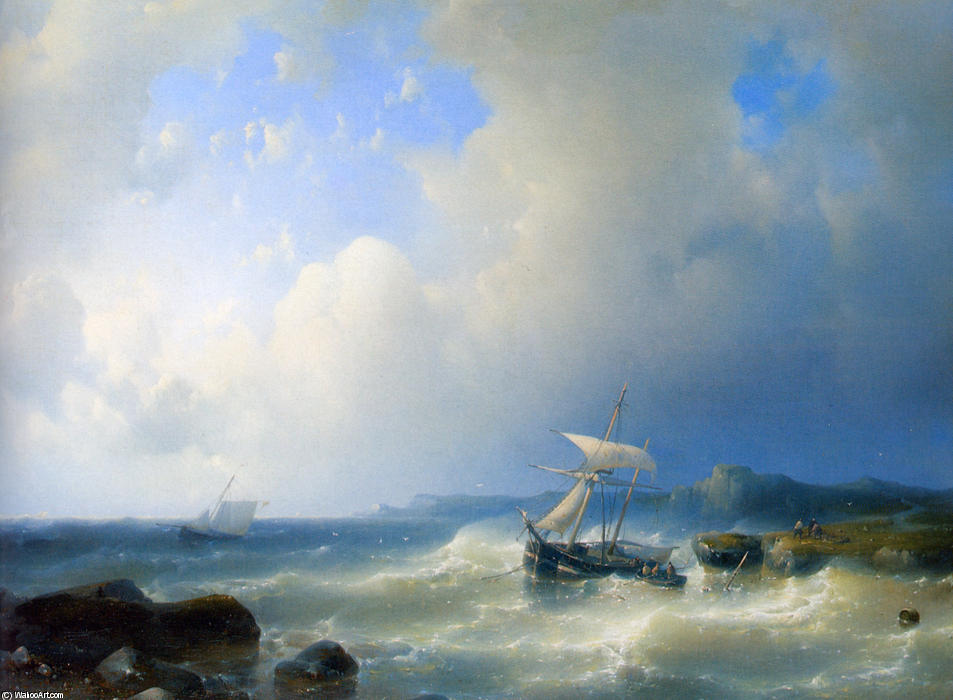 A Rocky Coast, Oil by Abraham Hulk Senior (1813-1897, Netherlands)