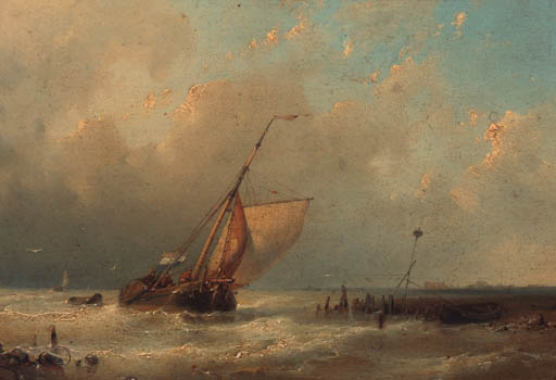 A Sailingboat In A River Estuary, Oil by Abraham Hulk Senior (1813-1897, Netherlands)