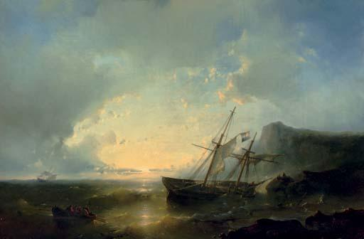 A Shipwreck At Sunset, Oil by Abraham Hulk Senior (1813-1897, Netherlands)