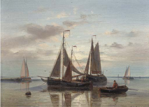 A Stiff Breeze; And Fishing Barges At Dusk by Abraham Hulk Senior (1813-1897, Netherlands) | Famous Paintings Reproductions | WahooArt.com