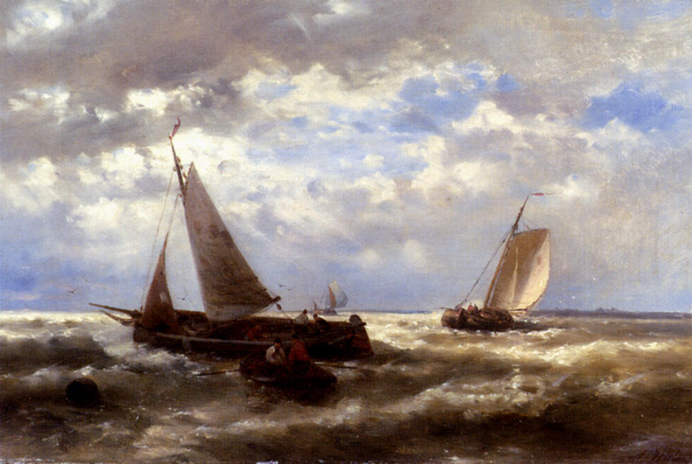A Windy Day, Oil by Abraham Hulk Senior (1813-1897, Netherlands)