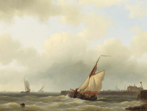 A Zwartewaalse Gaffelaar Leaving Port, Oil by Abraham Hulk Senior (1813-1897, Netherlands)