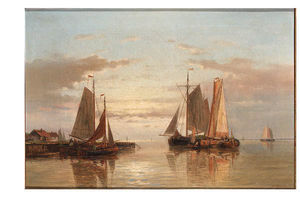 Abraham Hulk Senior - An Estuary At Dawn With Sailingvessels At Anchor