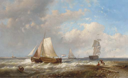 An Onshore Breeze Off The Dutch Coast, Oil by Abraham Hulk Senior (1813-1897, Netherlands)