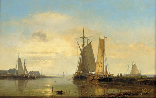 Dusk On The Scheldt by Abraham Hulk Senior (1813-1897, Netherlands) | Oil Painting | WahooArt.com