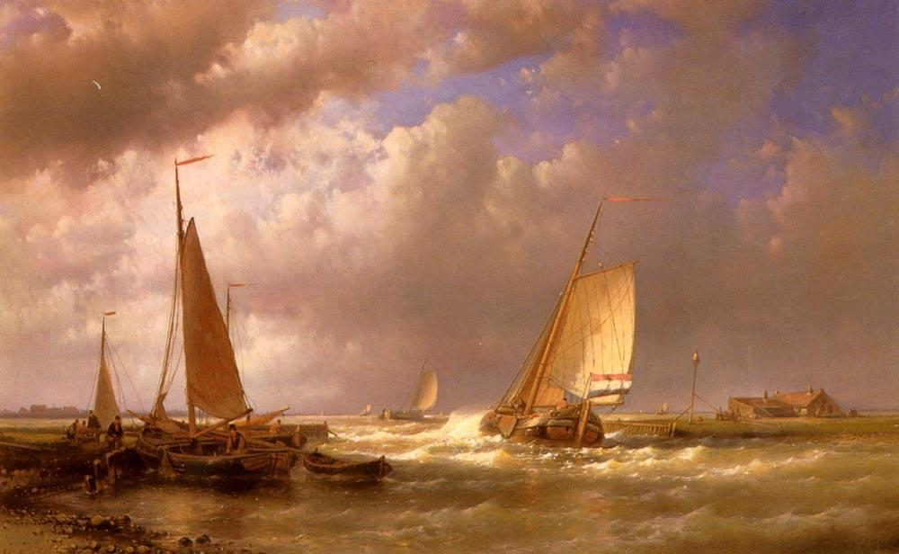 Dutch Barges At The Mouth Of An Estuary by Abraham Hulk Senior (1813-1897, Netherlands) | WahooArt.com