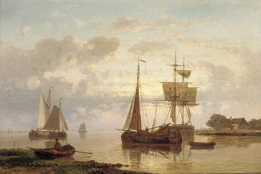 Dutch Barges In A Harbour by Abraham Hulk Senior (1813-1897, Netherlands) | Art Reproduction | WahooArt.com
