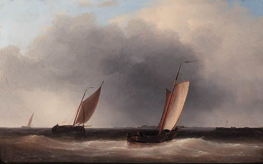 Dutch Botters In An Estuary, A Storm Approaching, Oil by Abraham Hulk Senior (1813-1897, Netherlands)