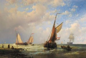 Abraham Hulk Senior - Dutch Fishingboats Setting Out To Sea With Fishermen On The Shore
