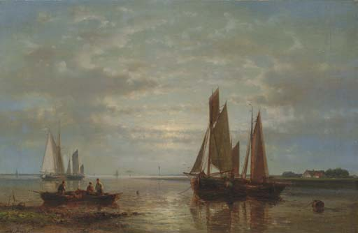 Evening Calm by Abraham Hulk Senior (1813-1897, Netherlands) | Oil Painting | WahooArt.com