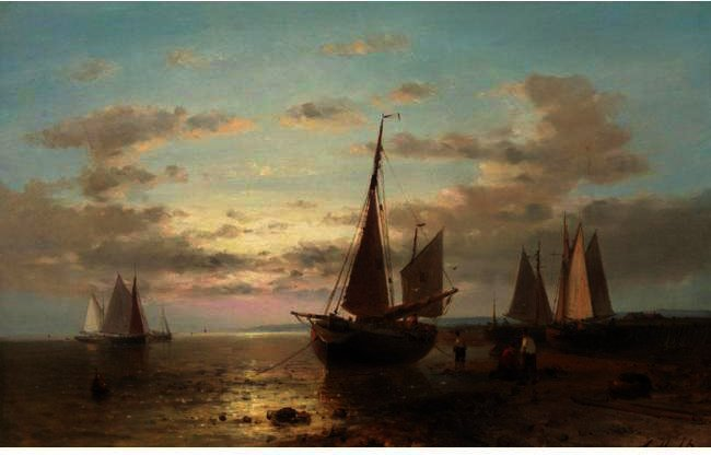 Fisherman And Their Boats At Evening, Other Boats Offshore, Oil by Abraham Hulk Senior (1813-1897, Netherlands)