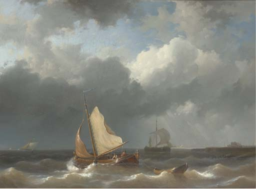 Fishermen Setting Sail Off The Harbour Mouth, Oil by Abraham Hulk Senior (1813-1897, Netherlands)
