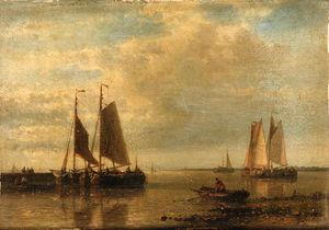 Order Famous Paintings Reproductions : Fishing Boats In An Estuary by Abraham Hulk Senior (1813-1897, Netherlands) | WahooArt.com