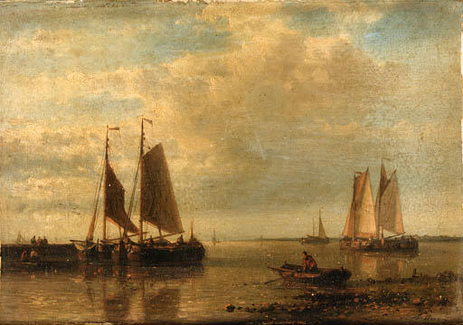 Fishing Boats In An Estuary, Oil by Abraham Hulk Senior (1813-1897, Netherlands)