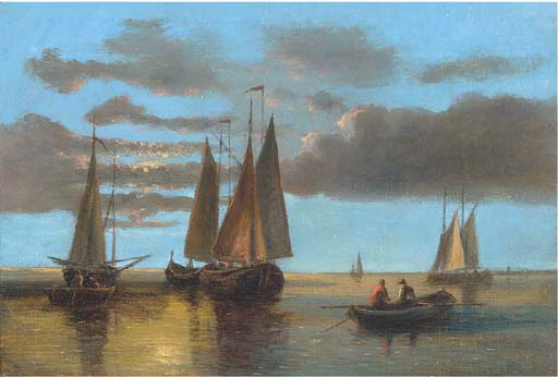 Fishing Boats On The Scheldt (Illustrated); And Barges In A Stiff Breeze by Abraham Hulk Senior (1813-1897, Netherlands) | Oil Painting | WahooArt.com