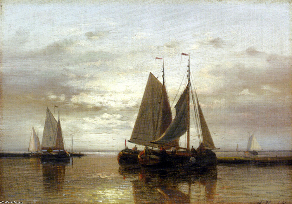 Fishing In A Calm, Oil by Abraham Hulk Senior (1813-1897, Netherlands)