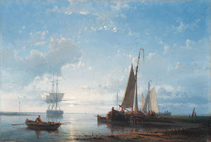 Order Painting Copy Fishing Vessels In A Calm Estuary At Dusk by Abraham Hulk Senior (1813-1897, Netherlands) | WahooArt.com | Order Oil Painting Fishing Vessels In A Calm Estuary At Dusk by Abraham Hulk Senior (1813-1897, Netherlands) | WahooArt.com