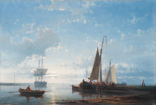 Fishing Vessels In A Calm Estuary At Dusk, Oil by Abraham Hulk Senior (1813-1897, Netherlands)