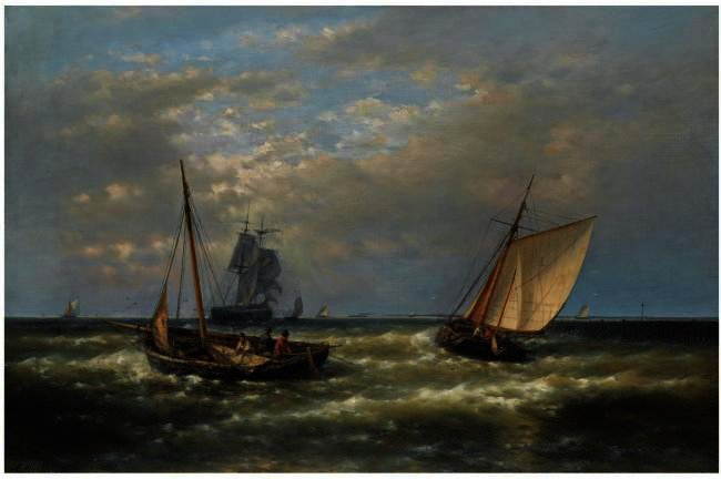 Hauling In The Nets 1, Oil by Abraham Hulk Senior (1813-1897, Netherlands)