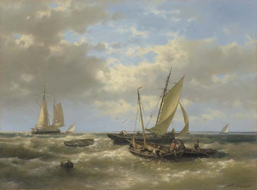 Hauling In The Nets by Abraham Hulk Senior (1813-1897, Netherlands) | WahooArt.com