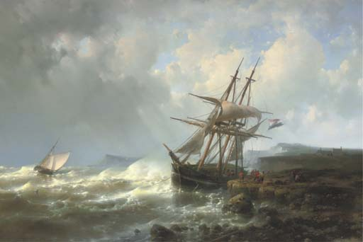 Mooring The Three-Master In A Stiff Breeze, Oil by Abraham Hulk Senior (1813-1897, Netherlands)