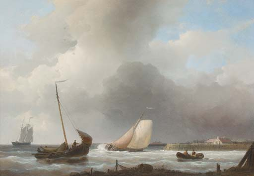 Sailing Boats Off The Dutch Coast, Oil by Abraham Hulk Senior (1813-1897, Netherlands)