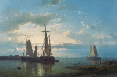Sailing In A Calm Estuary, Oil by Abraham Hulk Senior (1813-1897, Netherlands)