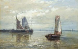 Abraham Hulk Senior - Sailing Vessels In A Calm