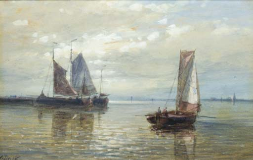 Sailing Vessels In A Calm, Oil by Abraham Hulk Senior (1813-1897, Netherlands)