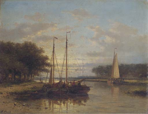 Sailing Vessels On A Calm River At Dusk, Oil by Abraham Hulk Senior (1813-1897, Netherlands)