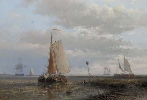 Sailingbarges In An Estuary, Oil by Abraham Hulk Senior (1813-1897, Netherlands)