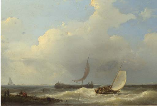 Sailingvessels In A Stiff Breeze Of The Coast, Oil by Abraham Hulk Senior (1813-1897, Netherlands)