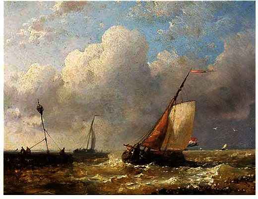 Sailingvessels In Choppy Waters, Oil by Abraham Hulk Senior (1813-1897, Netherlands)