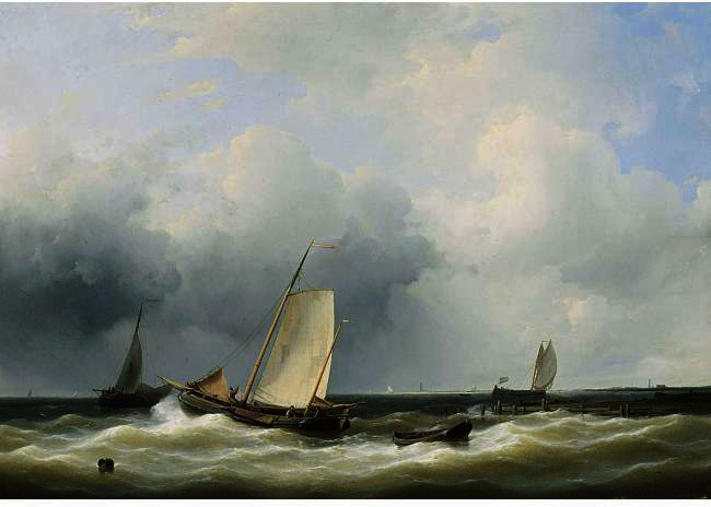 Seascape With Fishing Boats, Oil by Abraham Hulk Senior (1813-1897, Netherlands)