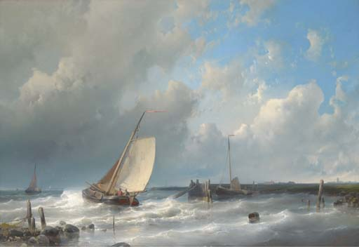 Setting Out, Oil by Abraham Hulk Senior (1813-1897, Netherlands)