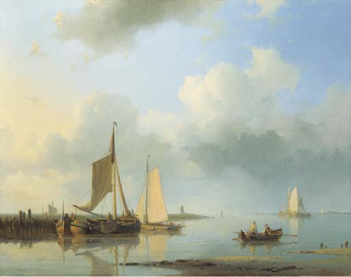 Shipping In A Calm 1, Oil by Abraham Hulk Senior (1813-1897, Netherlands)