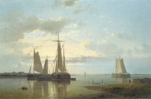 Shipping In A Calm Estuary 2, Oil by Abraham Hulk Senior (1813-1897, Netherlands)