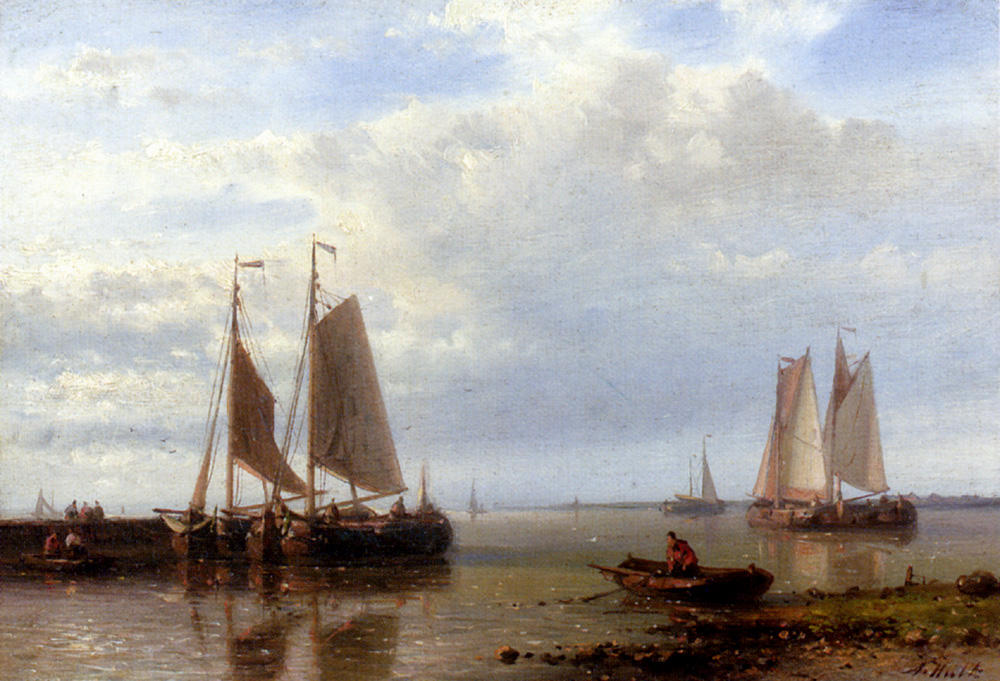 Shipping In A Calm Estuary, Oil by Abraham Hulk Senior (1813-1897, Netherlands)