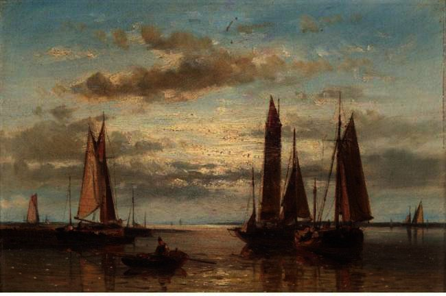 Shipping In A Calm Sea, Oil by Abraham Hulk Senior (1813-1897, Netherlands)