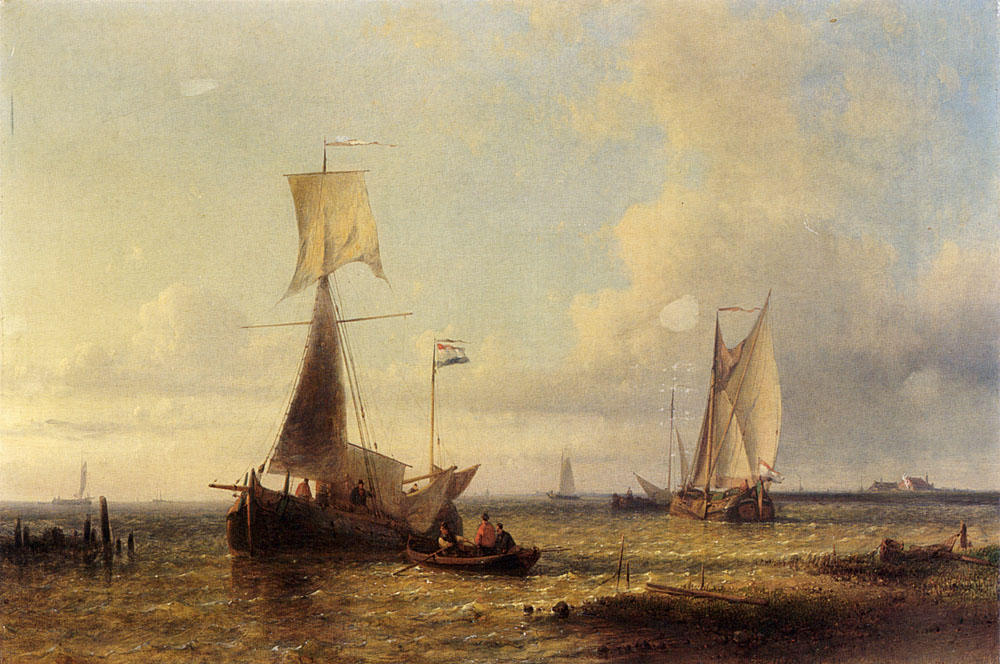 Shipping In A Calm, Oil by Abraham Hulk Senior (1813-1897, Netherlands)