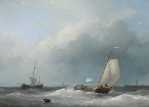 Shipping In A Stiff Breeze, Oil by Abraham Hulk Senior (1813-1897, Netherlands)