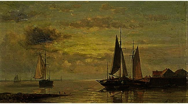 Shipping In Calm Waters 1, Oil by Abraham Hulk Senior (1813-1897, Netherlands)