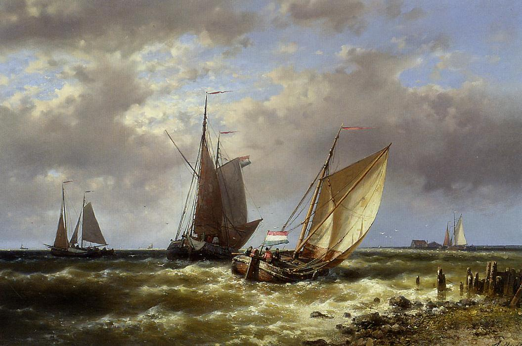 Shipping In Choppy Waters, Oil by Abraham Hulk Senior (1813-1897, Netherlands)