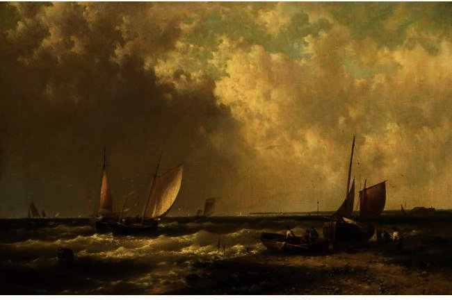 Shipping Off The Coast by Abraham Hulk Senior (1813-1897, Netherlands) | Museum Quality Reproductions | WahooArt.com