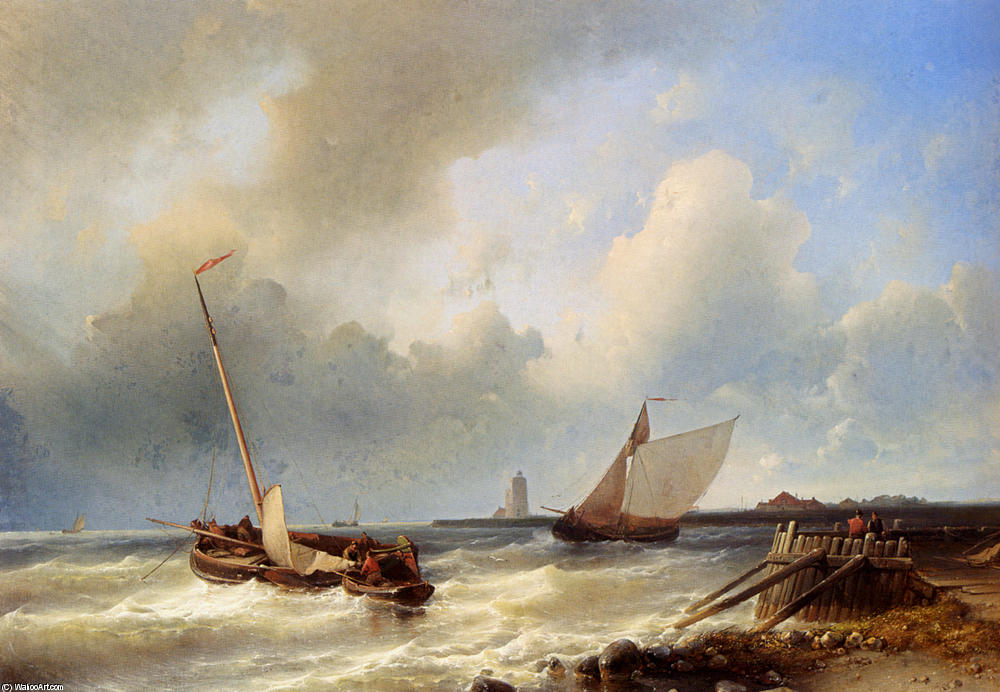Shipping Off The Dutch Coast, Oil by Abraham Hulk Senior (1813-1897, Netherlands)