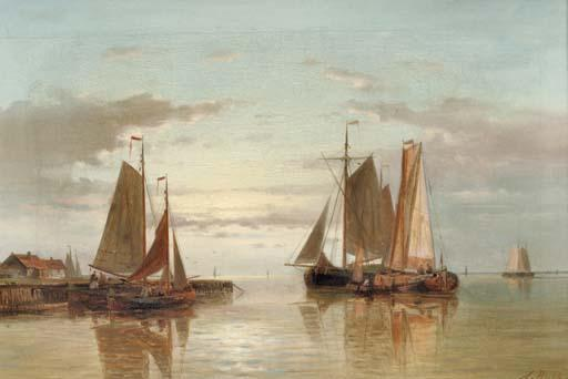 Shipping On A Calm, Oil by Abraham Hulk Senior (1813-1897, Netherlands)