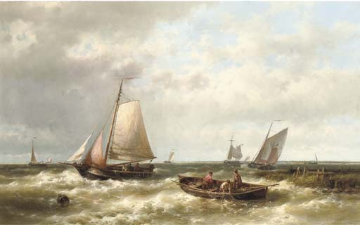 Ships On A Choppy Sea By An Estuary, Oil by Abraham Hulk Senior (1813-1897, Netherlands)