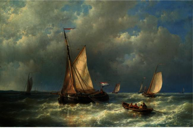 Stormy Sea With Ships, Oil by Abraham Hulk Senior (1813-1897, Netherlands)