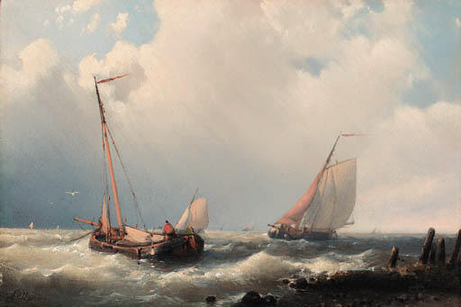 Trawlers Off The Mole, Oil by Abraham Hulk Senior (1813-1897, Netherlands)